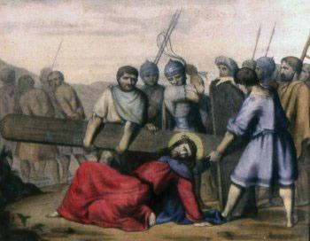 TERCERA ESTACIÓN Jesús cae por primera vez
