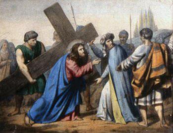 QUINTA ESTACIÓN El Cirineo ayuda a Jesús a llevar la cruz
