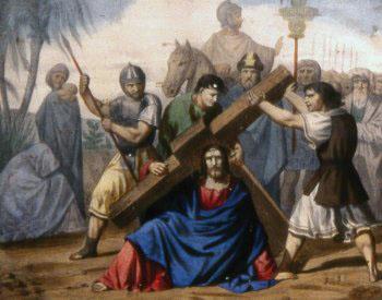 NOVENA ESTACIÓN Jesús cae por tercera vez bajo el peso de la cruz